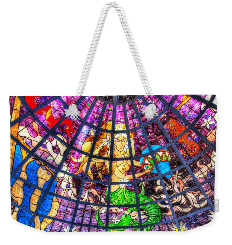 Captain George�s Weekender Tote Bag featuring the photograph Mermaid Stained Glass Art by Greg Hager