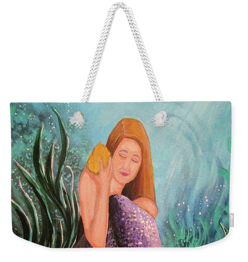 Mermaid Weekender Tote Bag featuring the painting Mermaid Under The Sea by Adam Santana