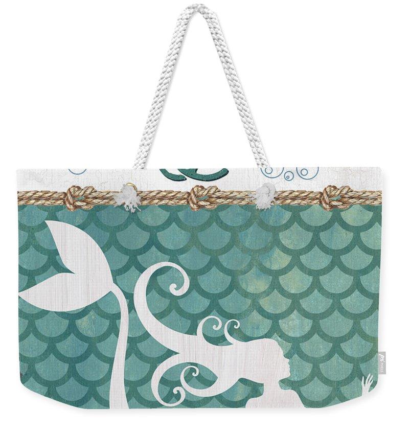 Mermaid Weekender Tote Bag featuring the painting Mermaid Waves 2 by Debbie DeWitt