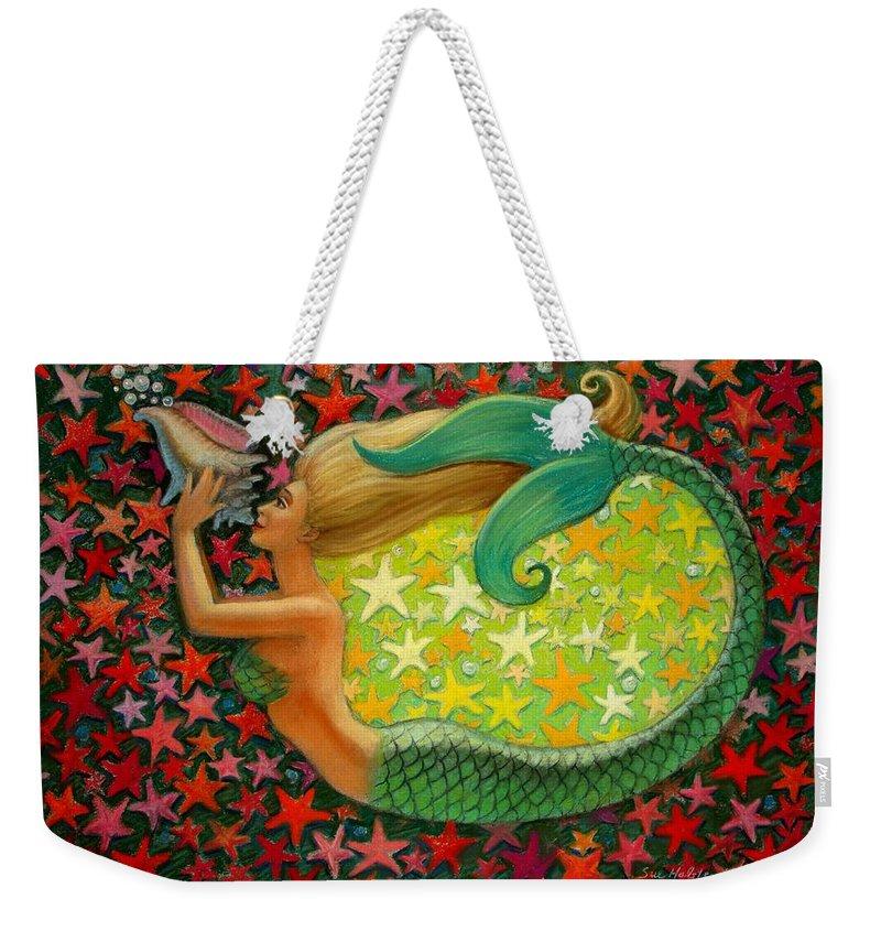 Mermaid Painting Weekender Tote Bag featuring the painting Mermaid's Circle by Sue Halstenberg