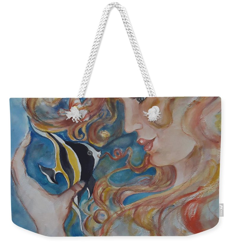 A Kiss From The Mermaid To A Morish Idol. Mermaid Weekender Tote Bag featuring the painting Mermaids Kiss by Charme Curtin