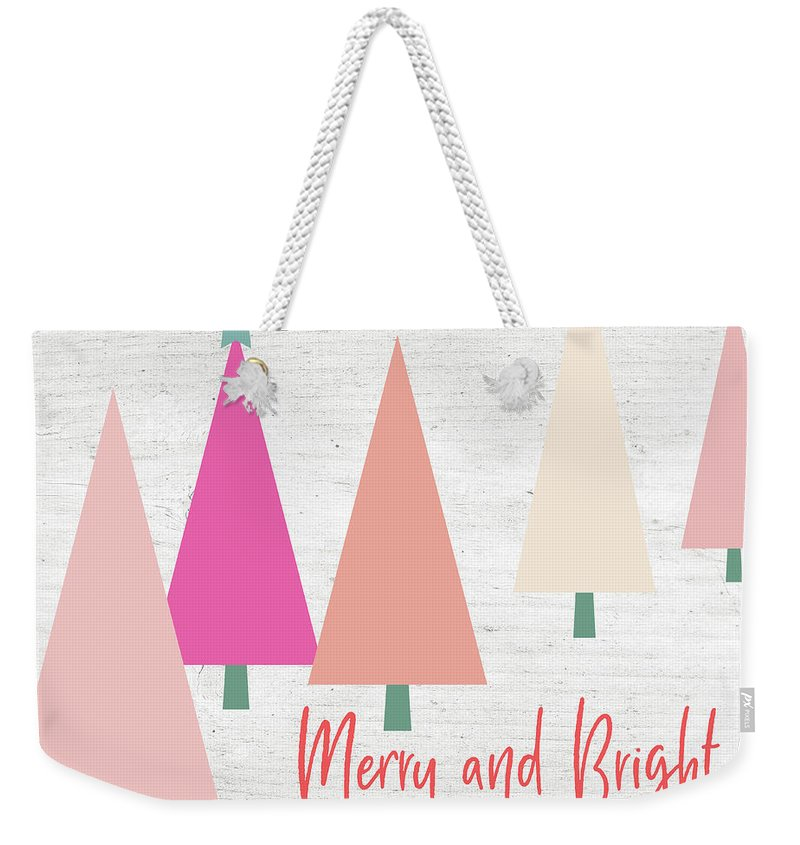 Merry And Bright Weekender Tote Bag featuring the mixed media Merry And Bright Trees- Art By Linda Woods by Linda Woods
