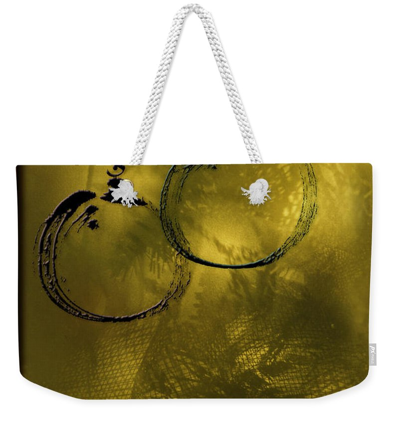 Christmas Lights Weekender Tote Bag featuring the photograph Merry Christmas Greetings In Soft Yellow by Peter v Quenter