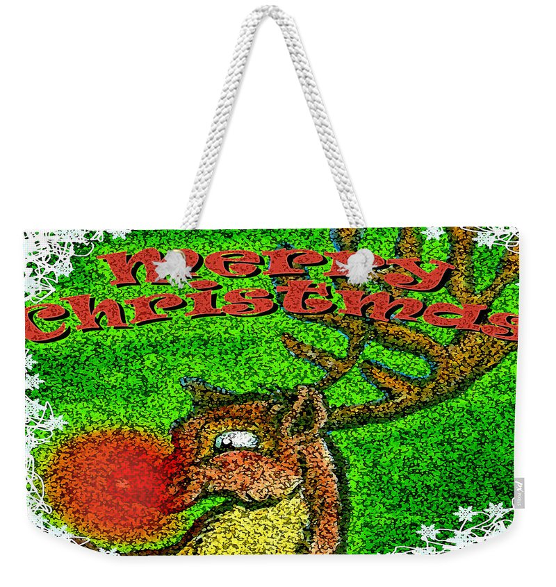 Christmas Weekender Tote Bag featuring the greeting card Merry Christmas by Kevin Middleton