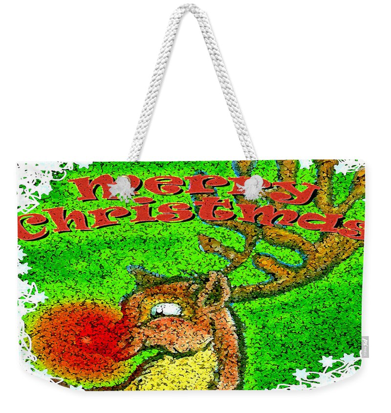 Merry Christmas Weekender Tote Bag featuring the greeting card Merry Christmas Reindeer by Kevin Middleton