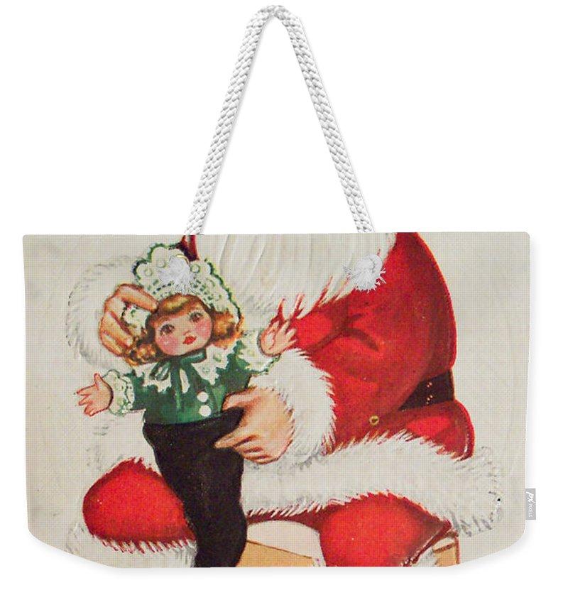 Merry Christmas Santa Pulls Doll From His Sack Vintage Card Weekender Tote Bag featuring the painting Merry Christmas Santa Pulls Doll From His Sack Vintage Card by R Muirhead Art