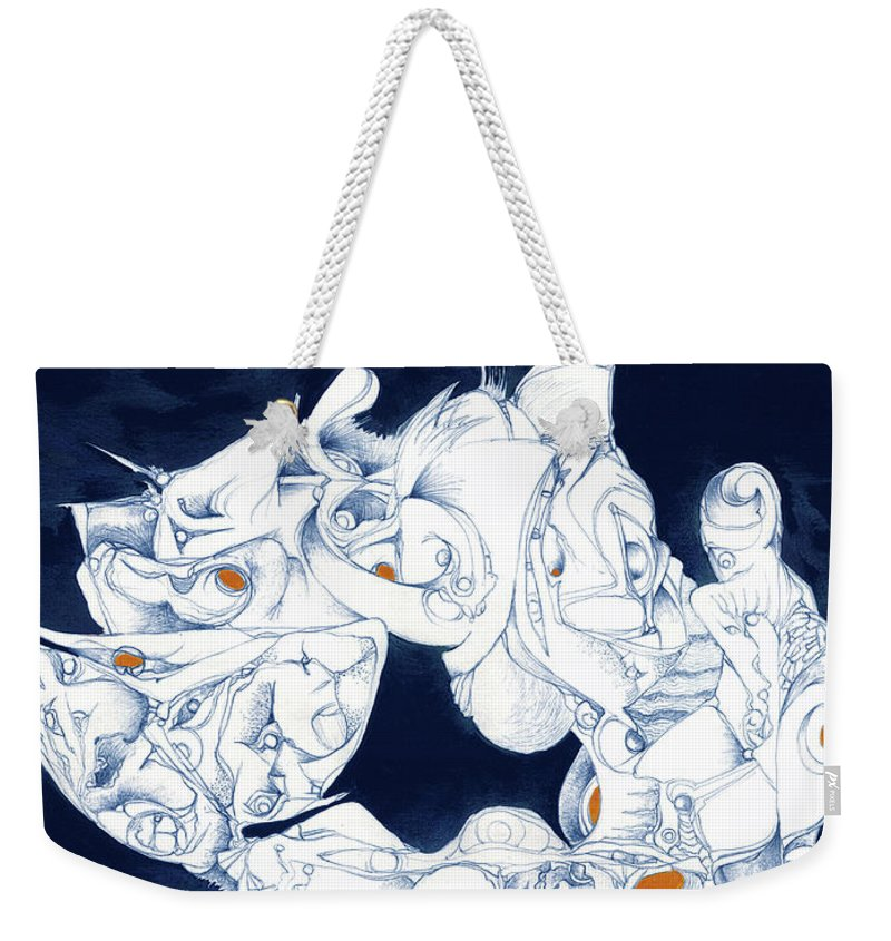 Abstract Weekender Tote Bag featuring the drawing Merry-go-round by Bodhi