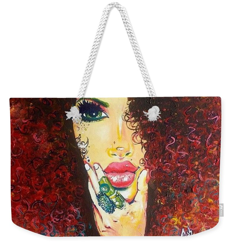 Weekender Tote Bag featuring the painting Mesmerized Fro by Afroism Kouture