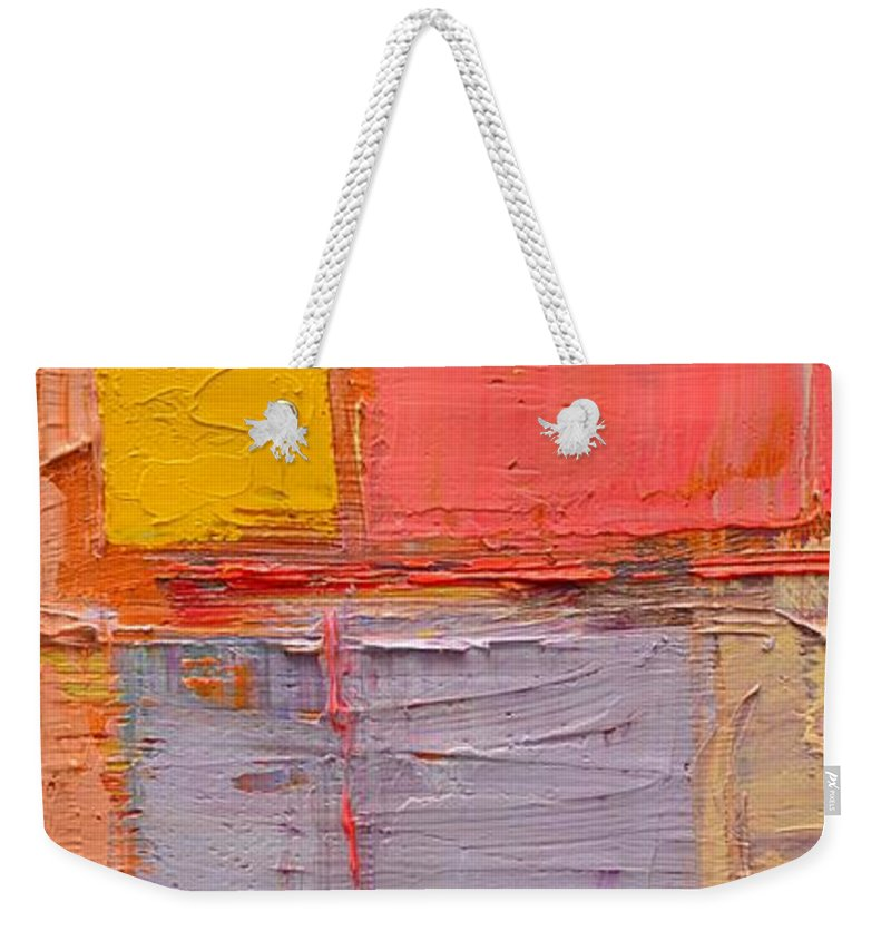 Abstract Weekender Tote Bag featuring the painting Messages 1 by Ana Maria Edulescu