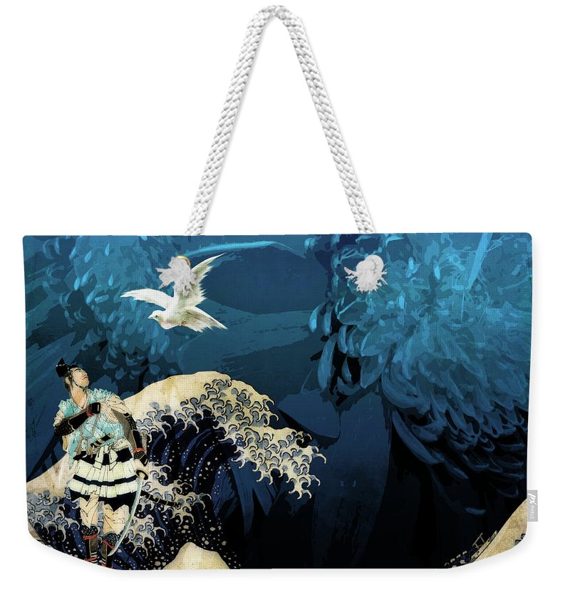 Japanese Prints Weekender Tote Bag featuring the digital art Messenger by Laura Botsford