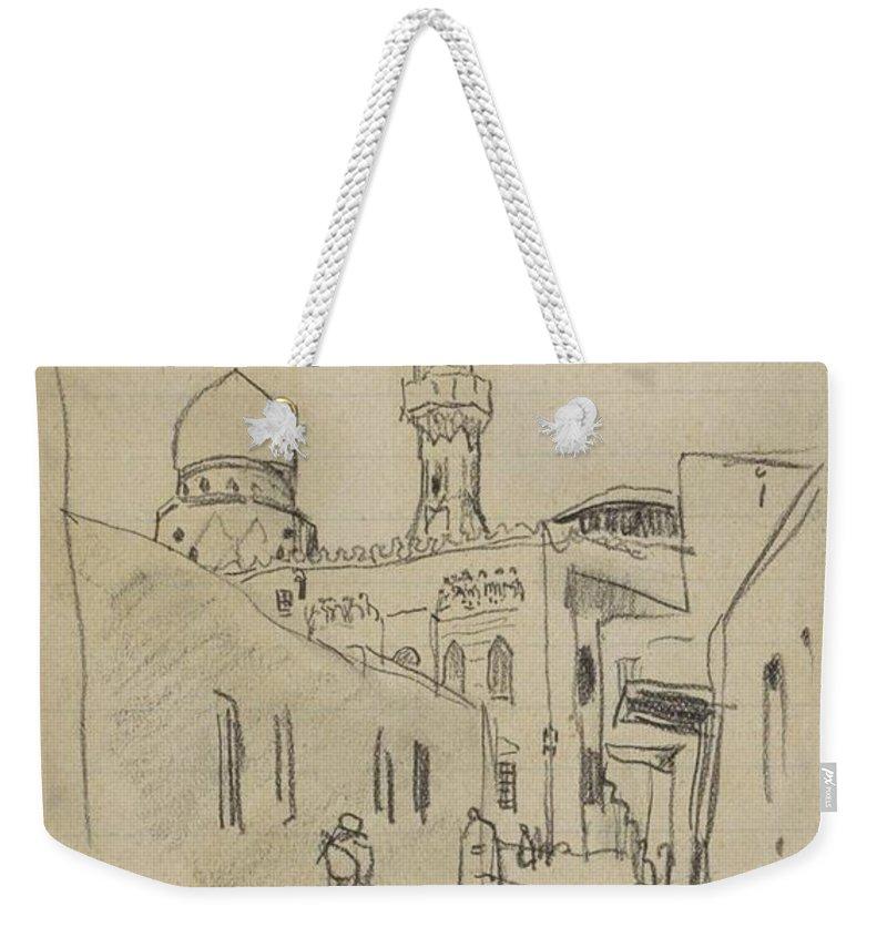 Straat In Caïro Weekender Tote Bag featuring the painting met uitzicht op de Al-Rifai moskee by MotionAge Designs