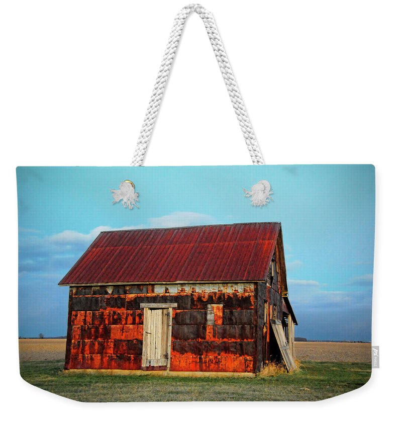 House Weekender Tote Bag featuring the photograph Metal House by David Arment