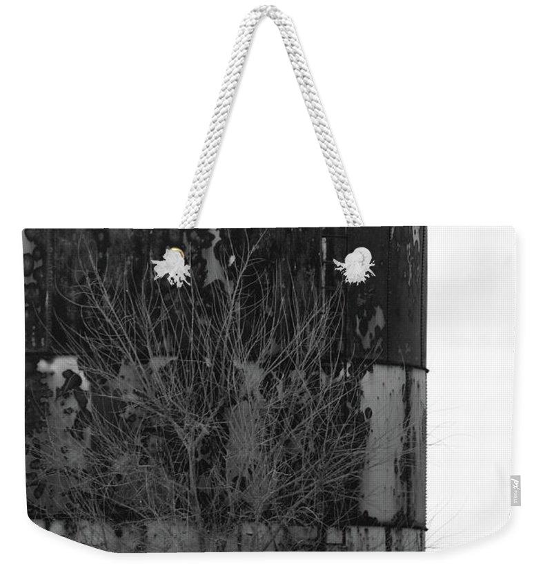 Rural Weekender Tote Bag featuring the photograph Metal Storage by Alan Look