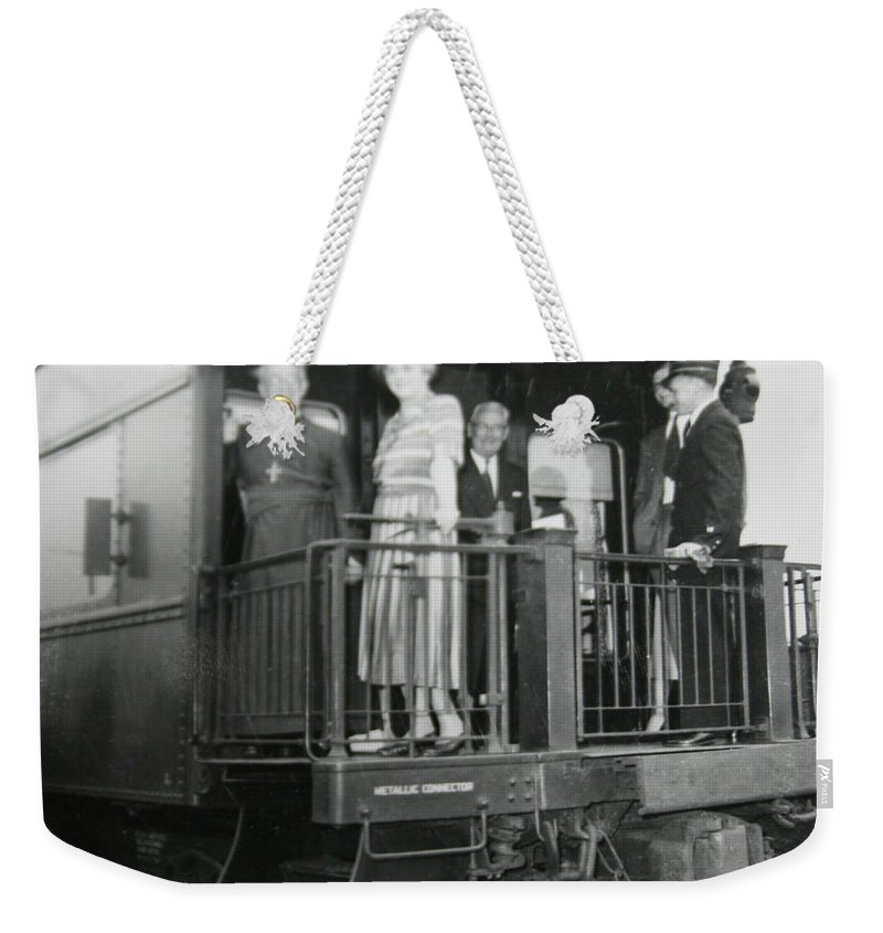 Old Train Rail Car Classic Caboose Transportation Black And White Photograph 1950s Weekender Tote Bag featuring the photograph Metallic Connection by Andrea Lawrence