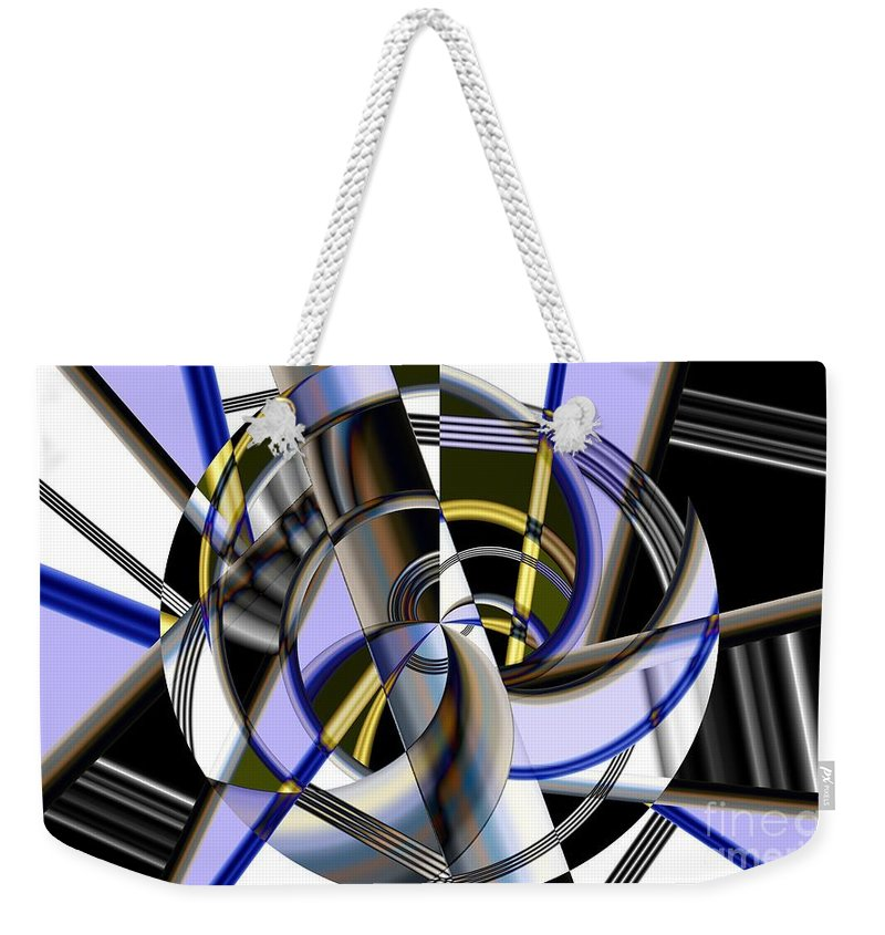 Metal Weekender Tote Bag featuring the digital art Metallics 5 by Ron Bissett