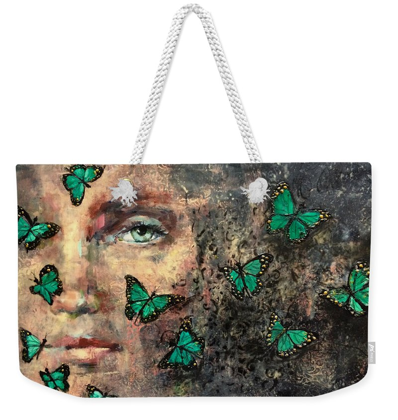 Woman Weekender Tote Bag featuring the painting Metamorphosis 3 by Ezshwan Winding