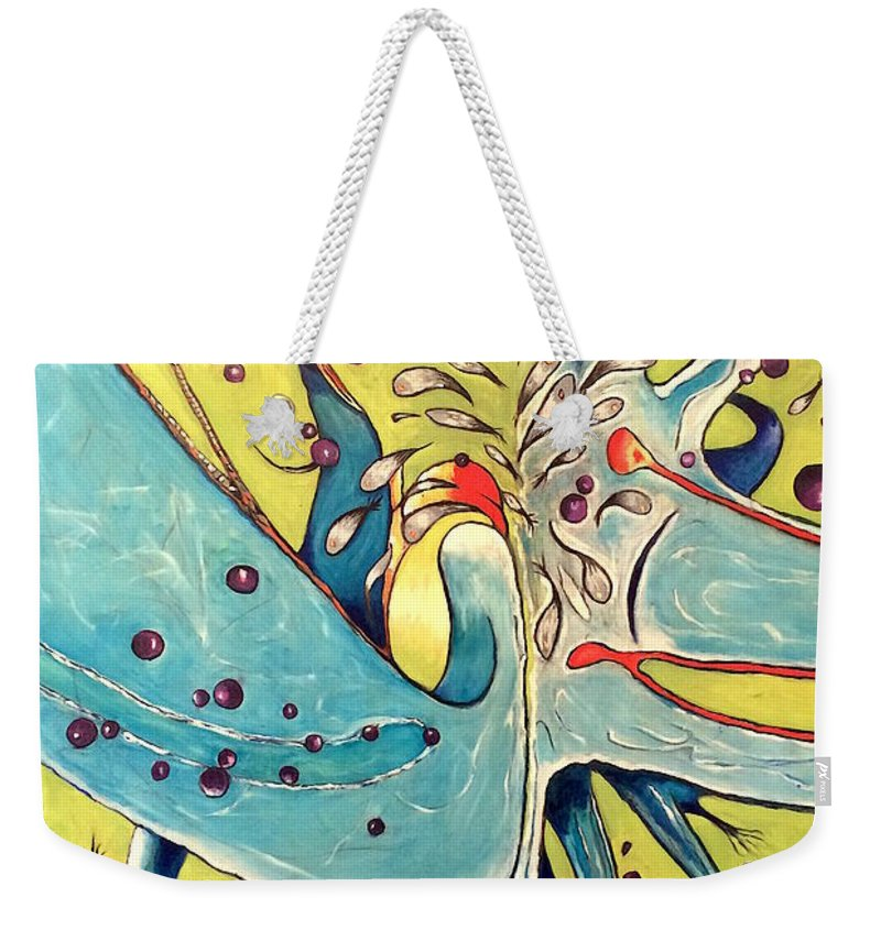 The Falling Man Weekender Tote Bag featuring the painting Metempshycosis by Michael Clague