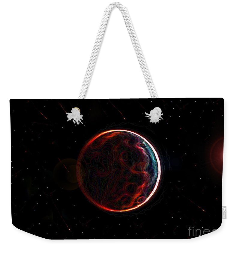 Art Weekender Tote Bag featuring the painting Meteor Shower Over Planet X by David Lee Thompson