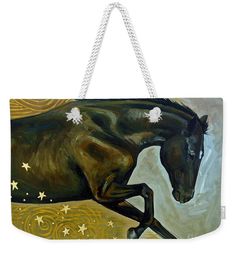 Acrylic Weekender Tote Bag featuring the painting Meteor Shower by Suzanne McKee