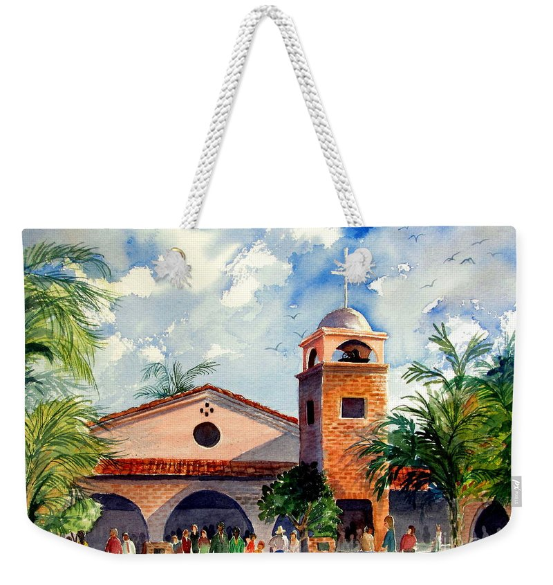 Church Weekender Tote Bag featuring the painting Methodist Church Gilbert Az by Marilyn Smith