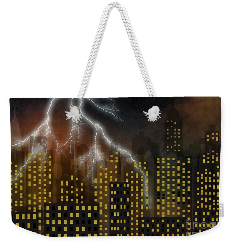 City Weekender Tote Bag featuring the digital art Metropolis At Stormy Night by Michal Boubin