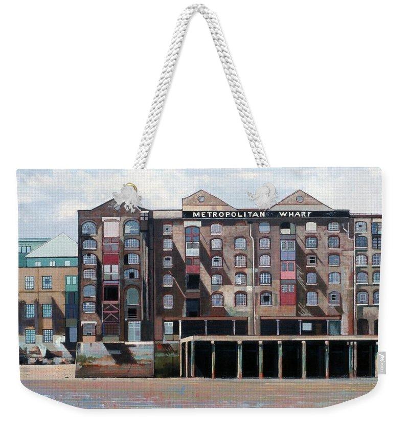 Metropolitan Wharf Weekender Tote Bag featuring the painting Metropolitan Wharf by Peter Wilson