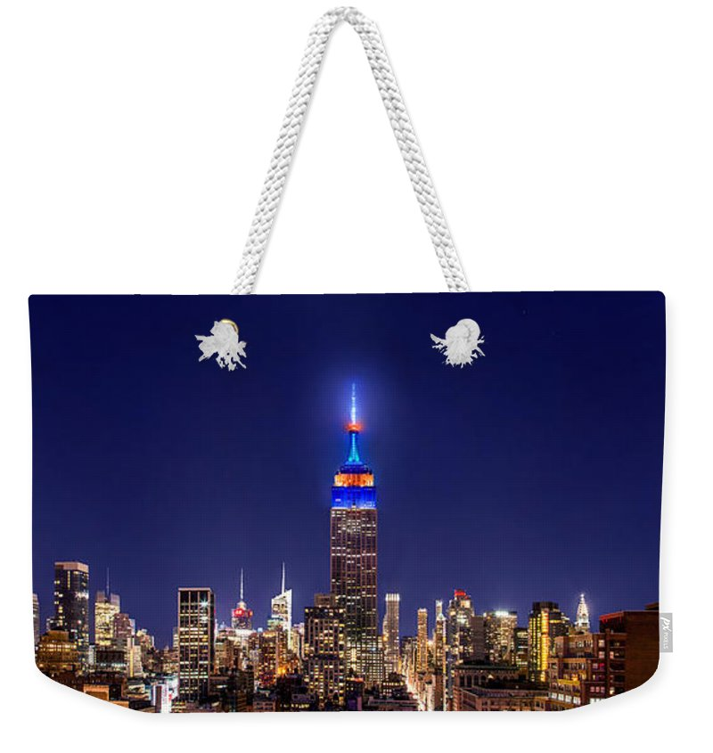 Empire State Building Weekender Tote Bag featuring the photograph Mets Dominance by Az Jackson