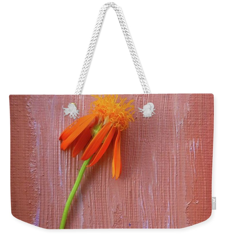 Mexican Weekender Tote Bag featuring the photograph Mexican Flame by Barbie Corbett-Newmin