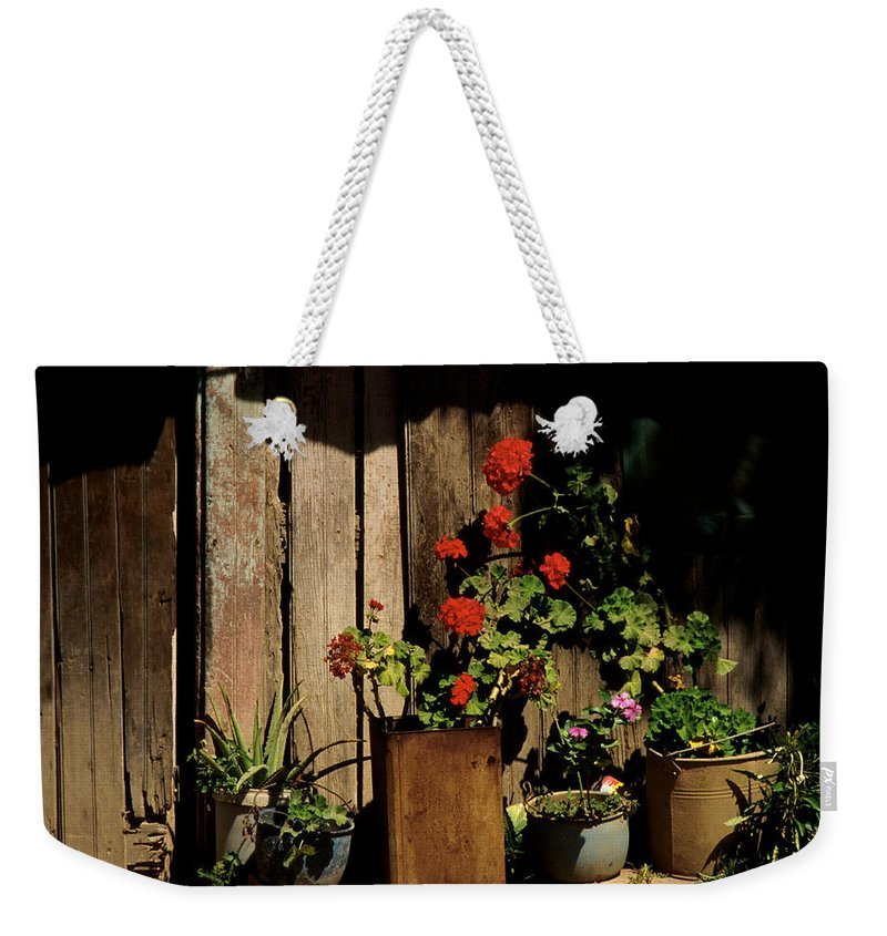 Flowers Weekender Tote Bag featuring the photograph Mexican Geraniums by Jerry McElroy