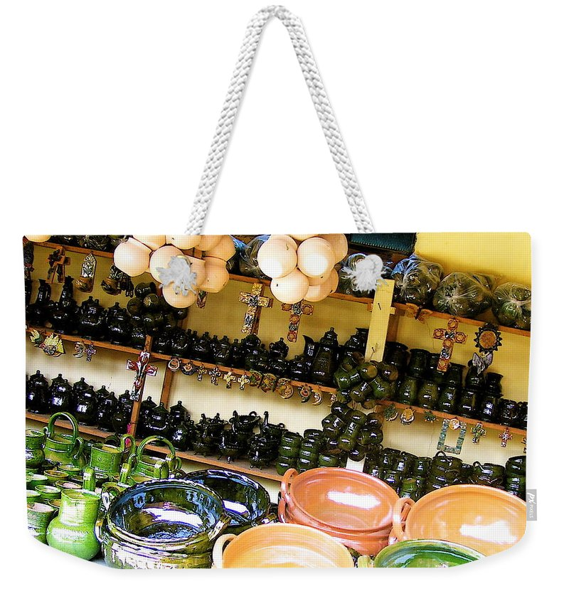 Mexican Weekender Tote Bag featuring the photograph Mexican Pottery by Michael Peychich