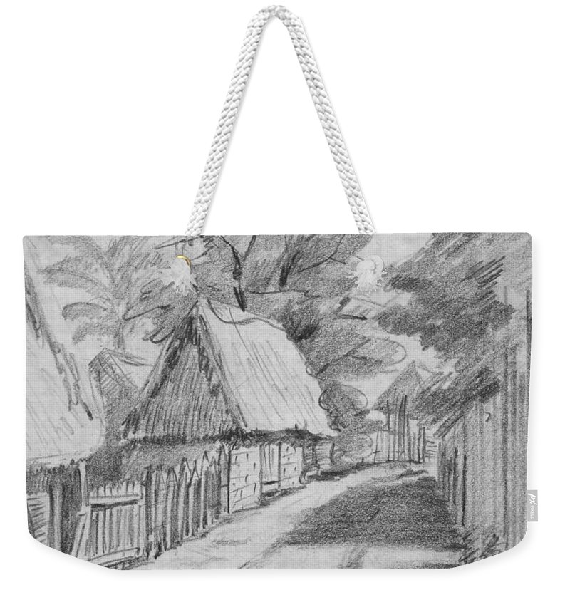 Anthony Van Dyk Weekender Tote Bag featuring the drawing Mexico Streetscape by Anthony Vandyk