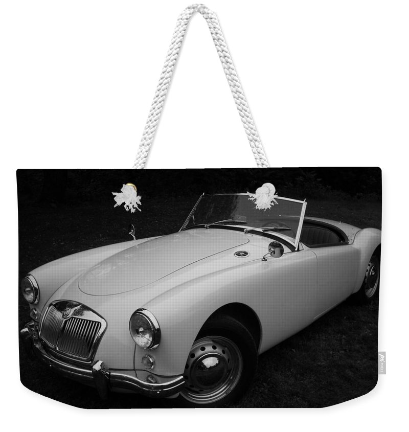 Morris Weekender Tote Bag featuring the photograph Mg - Morris Garages by Juergen Weiss