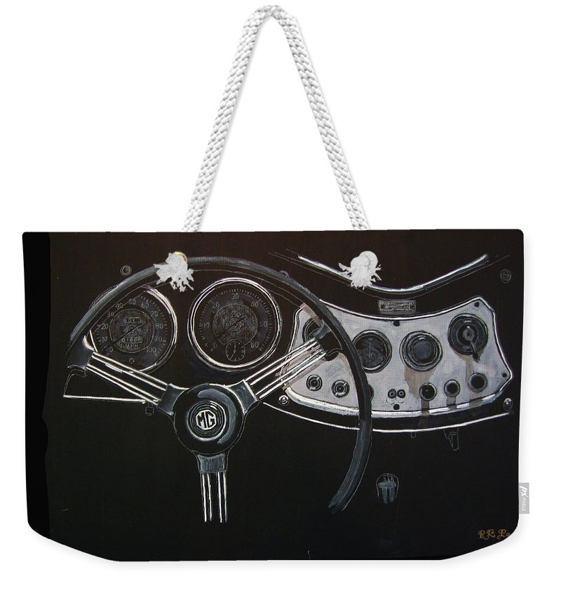 Mg Weekender Tote Bag featuring the painting Mg Dash by Richard Le Page