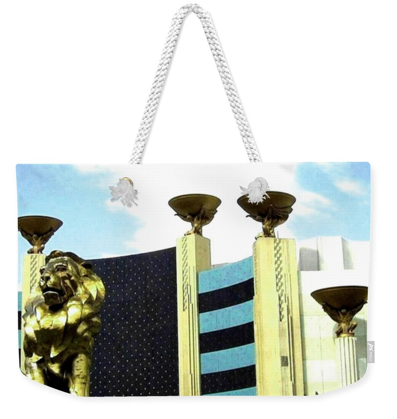 Mgm Weekender Tote Bag featuring the photograph Mgm Lion In Las Vegas by Will Borden