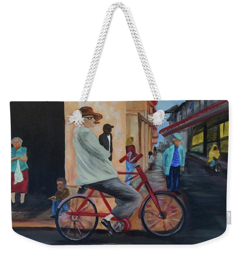 Bicicleta Weekender Tote Bag featuring the painting Mi Bicicleta by Jorge Delara