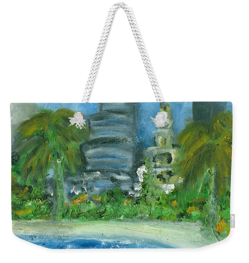 Miami Weekender Tote Bag featuring the painting Mi Miami by Jorge Delara