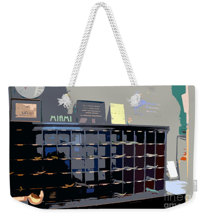 Miami Beach Florida Weekender Tote Bag featuring the photograph Miami Beach Hotel Key Slots by David Lee Thompson