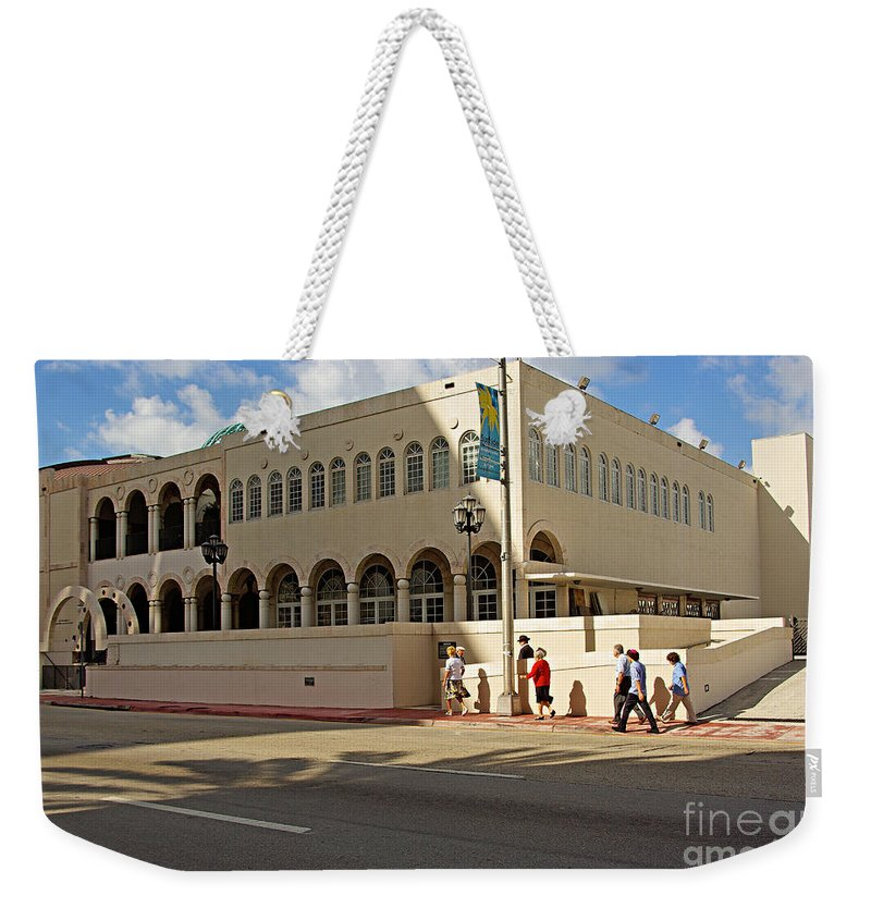 Synagogue Weekender Tote Bag featuring the photograph Miami Beach Synagogue Saturday Morning by Zal Latzkovich