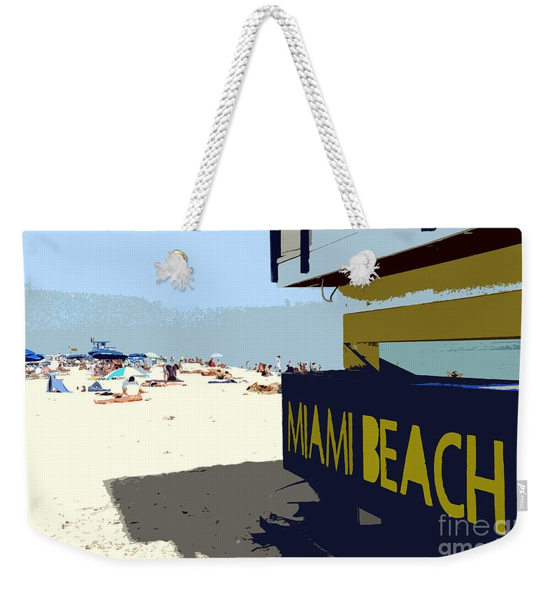 Miami Beach Florida Weekender Tote Bag featuring the photograph Miami Beach Work Number 1 by David Lee Thompson