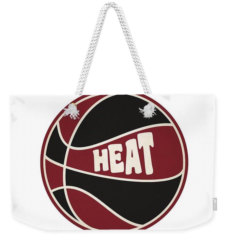 Heat Weekender Tote Bag featuring the photograph Miami Heat Retro Shirt by Joe Hamilton
