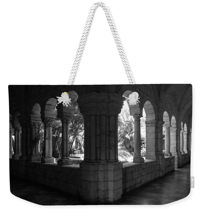 Black And White Weekender Tote Bag featuring the photograph Miami Monastery In Black And White by Rob Hans