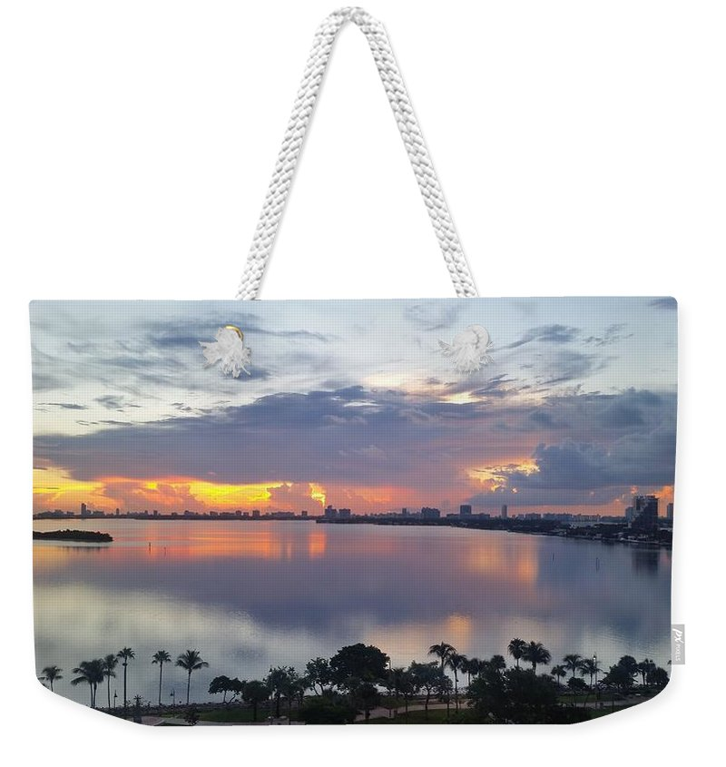 Weekender Tote Bag featuring the photograph Miami Sunrise Part 1 by Barbie Armada
