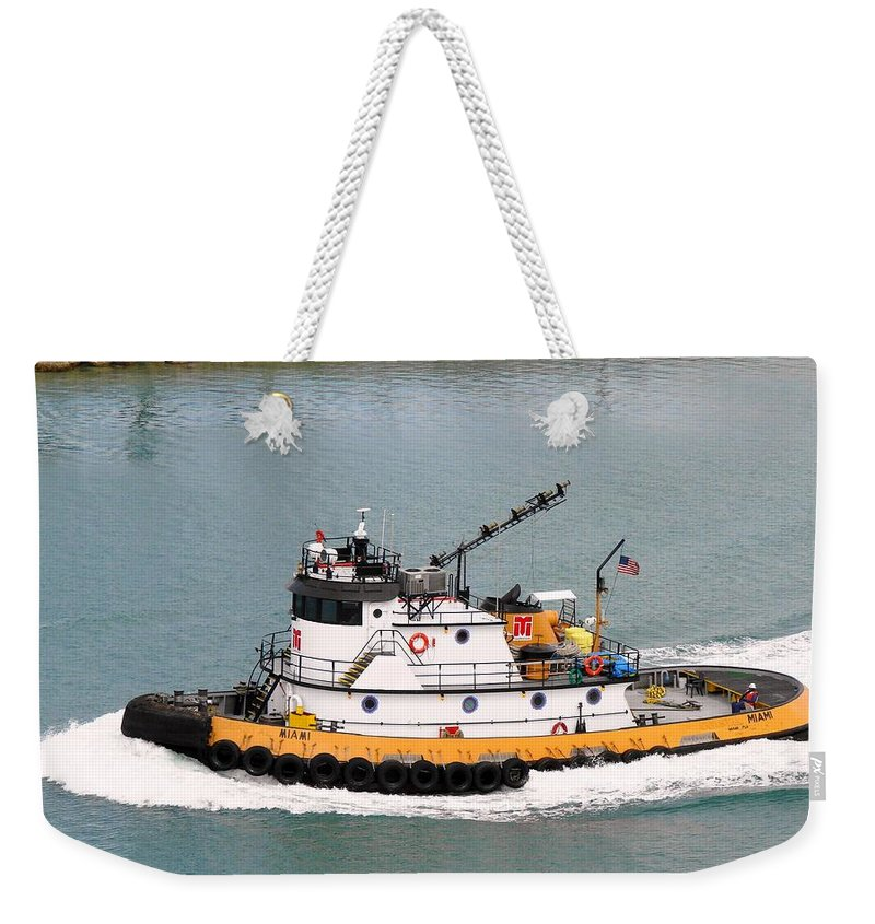 Tugboat Weekender Tote Bag featuring the photograph Miami Tug by Margaret Bobb