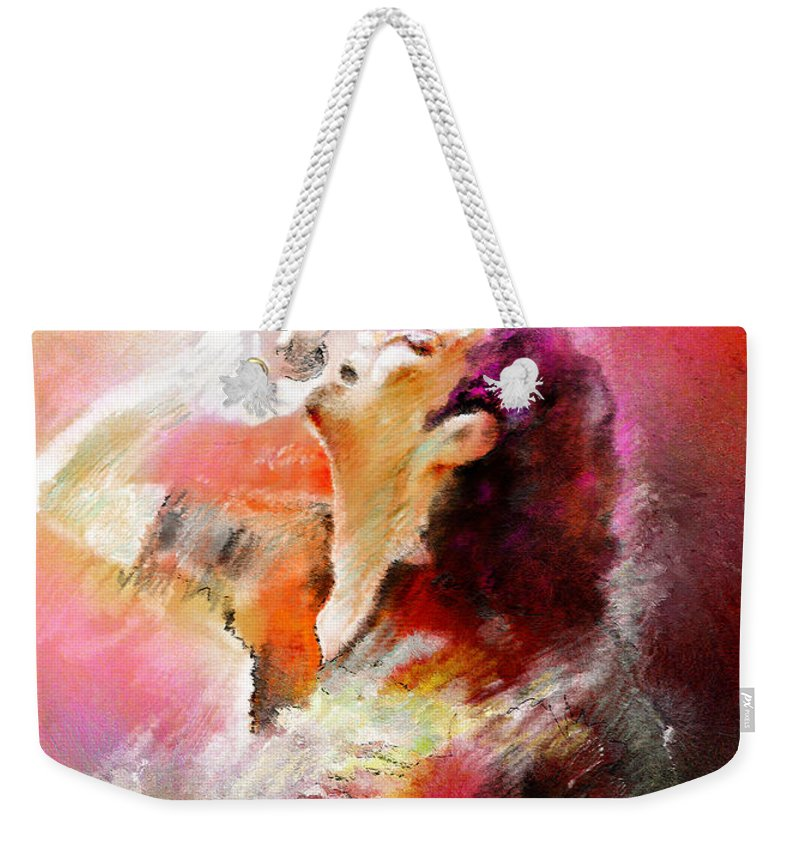Music Weekender Tote Bag featuring the painting Michael Jackson 05 by Miki De Goodaboom