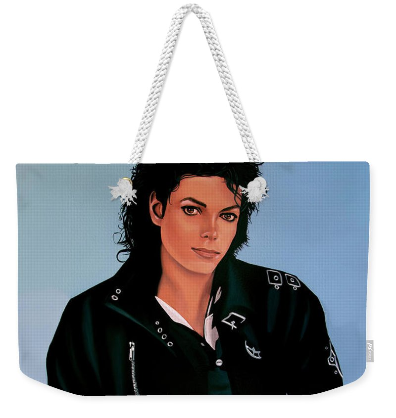 Michael Jackson Weekender Tote Bag featuring the painting Michael Jackson Bad by Paul Meijering