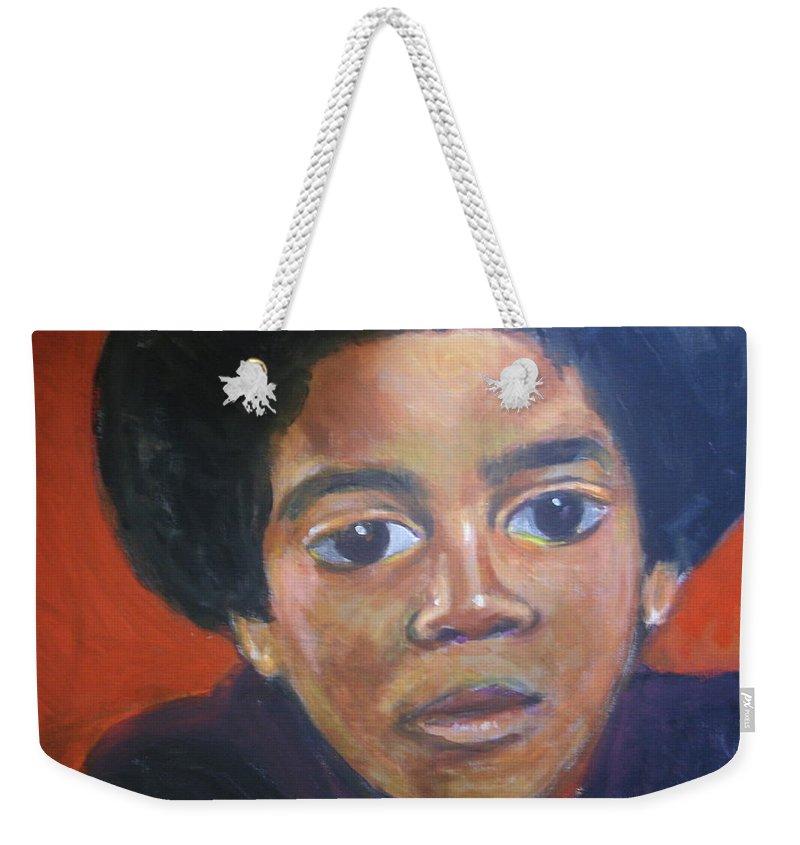 Michael Jackson Weekender Tote Bag featuring the painting Michael Jackson by Jan Gilmore