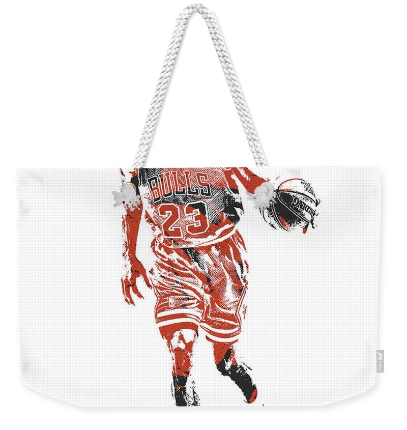 Michael Jordan Weekender Tote Bag featuring the mixed media Michael Jordan Chicago Bulls Pixel Art 30 by Joe Hamilton