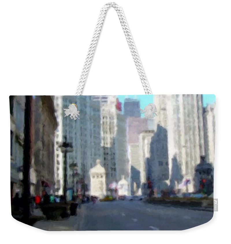 Chicago Weekender Tote Bag featuring the digital art Michigan Ave Tall by Anita Burgermeister