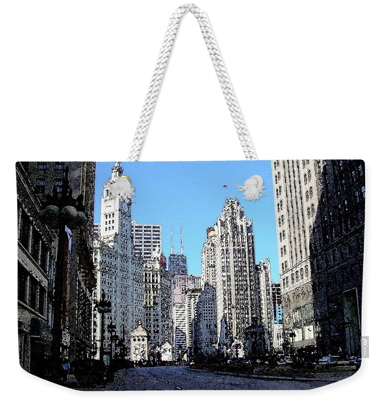 Chicago Weekender Tote Bag featuring the digital art Michigan Ave Wide by Anita Burgermeister
