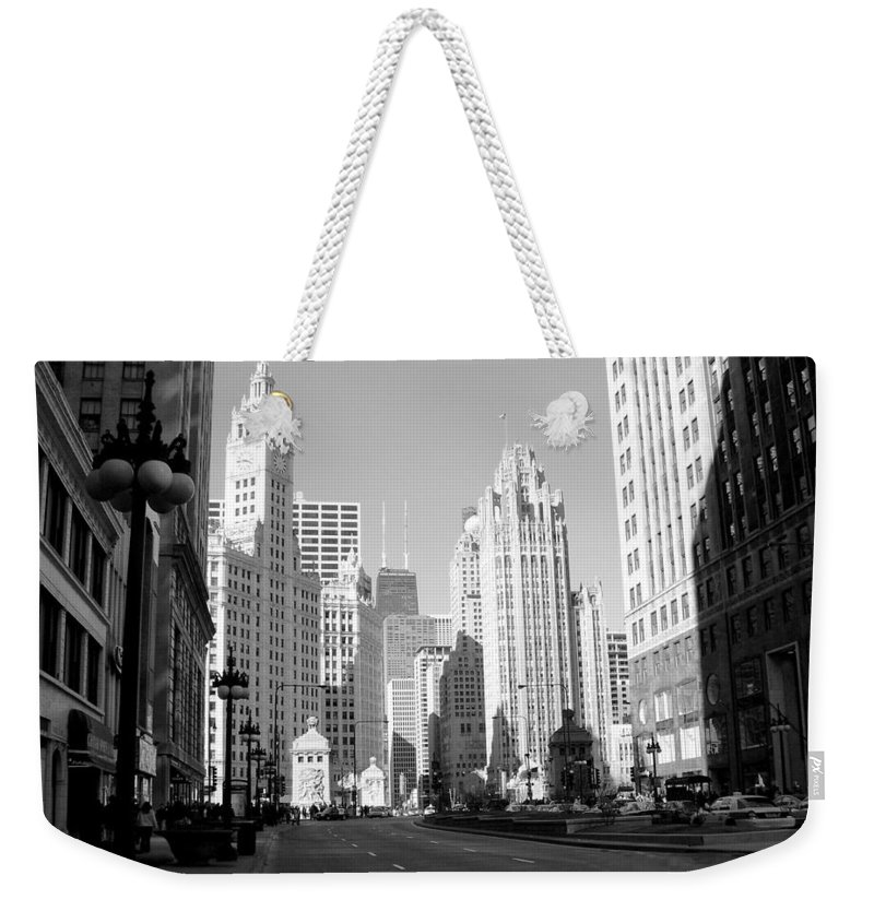 Chicago Weekender Tote Bag featuring the photograph Michigan Ave Wide B-w by Anita Burgermeister